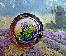 Pomôcky - háček na kabelku s levandulí a vašimi iniciálami - 4344604_
