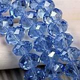 Brúsené sklenené korálky modré 6x8mm