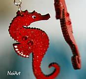 Náušnice - morský koník červený - 4352399_
