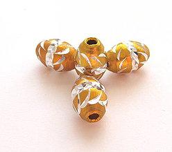 Korálky - Aluminio goldig ovals - 4350131_