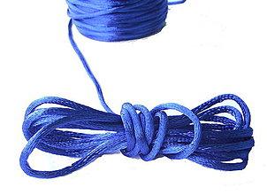 Galantéria - Saténová šnúrka azúrovo modrá 2mm - 4352516_
