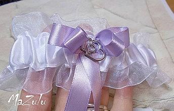 Bielizeň/Plavky - svadobný podväzok v lila - 4352701_