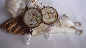 Náušnice - Nostalgické náušničky ruža biela - 4352334_