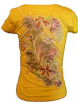 Tričká - kvety v žltom-obojstranne maľované - 4356271_