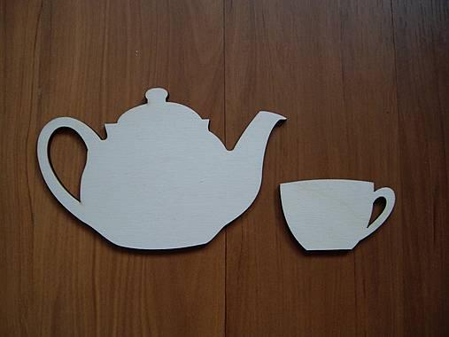 Drevená dekorácia - čajník + šálka