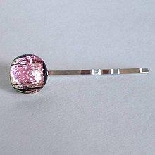 Ozdoby do vlasov - ružová dichro sponka - 4353857_