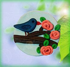 Magnetky - Vtáčik na haluzi - magnetka - 4356269_