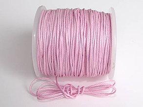 Galantéria - Povoskovaná šnúrka Ružová 1 mm - 4356968_