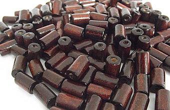 Korálky - Tmavohnedé drevené valčeky 10x6mm - 4360139_