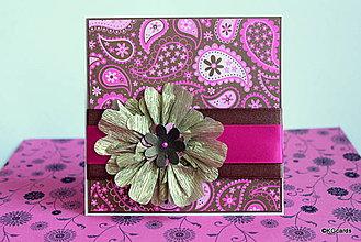 Papiernictvo - Pohľadnica k sviatku s kvetinou - ružovo zlatá - 4365399_