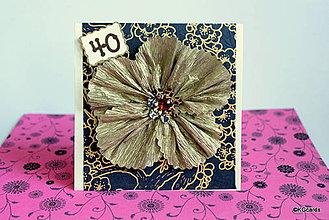 Papiernictvo - Pohľadnica k sviatku s kvetinou - modro zlatá - 4365423_