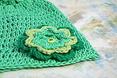 Detské čiapky - Háčkovaná čepička-kombinace zelených barev - 4367286_