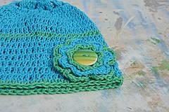 Detské čiapky - Háčkovaná čepička- modrozelená - 4367317_