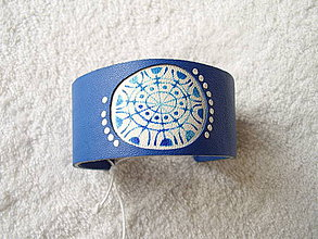 Náramky - Náramok kožený, vločkokvet - 4365130_