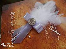 Pierka - svadobné pierko biela & lila - 4368004_