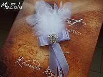 Pierka - svadobné pierko biela & lila - 4368006_