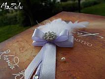 Pierka - svadobné pierko biela & lila - 4368007_