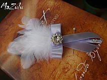Pierka - svadobné pierko biela & lila - 4368008_