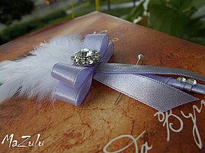 Pierka - svadobné pierko biela & lila - 4368003_