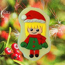 Dekorácie - Magnetky Vianočná idylka (dievča) - 4369270_