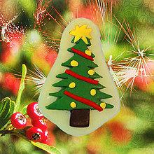 Dekorácie - Magnetky Vianočná idylka (vianočný stromček) - 4369276_