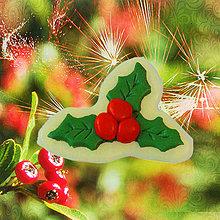 Dekorácie - Magnetky Vianočná idylka (imelo) - 4369281_