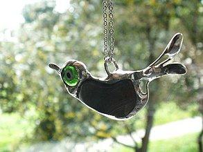 Náhrdelníky - Zelený vtáčik-achát-prívesok tiffany - 4373297_
