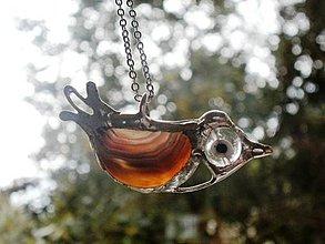 Náhrdelníky - Vtáčik -achát-prívesok tiffany - 4373409_