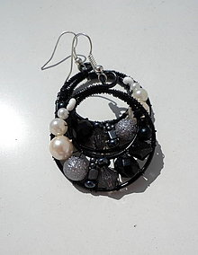 Náušnice - Mini čierno-biele - 4372635_