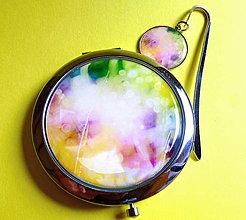 Zrkadielka - set V barvách duhy - záložka, zrcátko - 4371316_