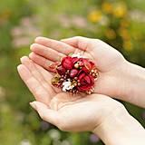 """- sponka mini """"šípkový čaj"""" (červeno-smotanová) - 4378182_"""