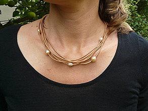 Náhrdelníky - Náhrdelník perlový kožený - 4376263_