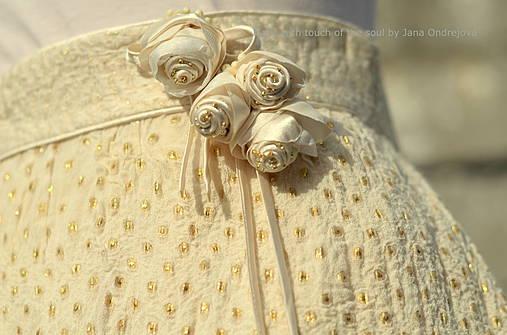 Sukne - Plstená hodvábna sukňa Zlaté šampanské - 4383635_