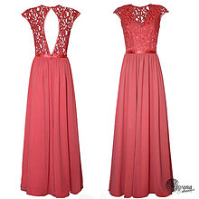 Šaty - Lososové šaty so slzou na chrbáte - 4386731_