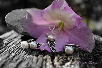 Sady šperkov - Strieborná súprava s perlami (Biele perly) - 4383752_