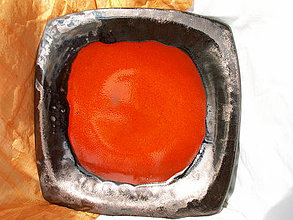 Nádoby - Misa oranžová so zlatým okrajom