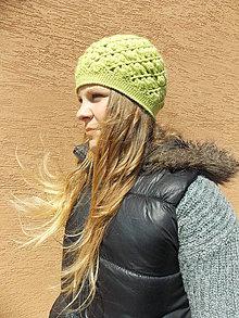 Čiapky - Háčkovaná čiapka v svetlo zelenej - 4388725_