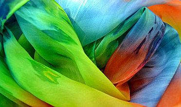 Šatky - namaľuj mi dúhu (hodvábna šatka) - 4388639_