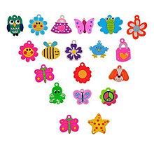 Galantéria - Prívesky na gumičkové náramky (balíček 20ks) - 4394563_