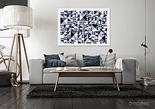 Grafika - VÝPREDAJ/Geometrický abstrakt (farebný)- hra tieňov - 4396406_