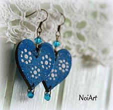 Náušnice - Navy blue hearts - 4398943_