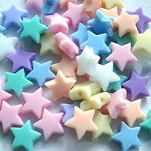 Korálky - Plast hviezda 10mm-MIX-16ks - 4397554_