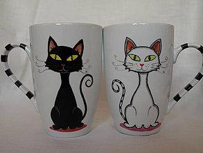 Nádoby - 2 porcelánové hrnčeky na Latte - Black and White Cat - 4398564_