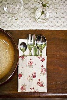 Úžitkový textil - Servítky na stolovanie - kvetinkové - 4404729_