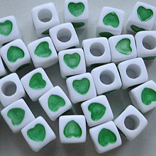 Korálky - Plast srdce 7x7mm - 4403630_