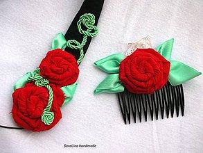 Ozdoby do vlasov - textilná čelenka s kvetmi - 4401043_