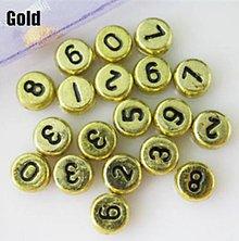Korálky - Zlaté korálky čísielka (balíček 100ks) - 4404170_
