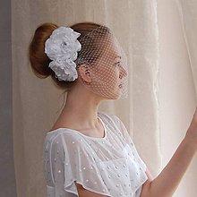 Ozdoby do vlasov - Francouzský svatební závoj s růžemi - 4408319_