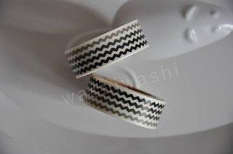 Papier - washi paska vlnovka cierna biela - 4405963_
