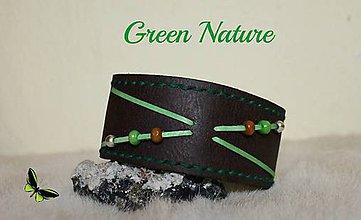 Náramky - Pánsky kožený náramok - Green Nature - 4408002_